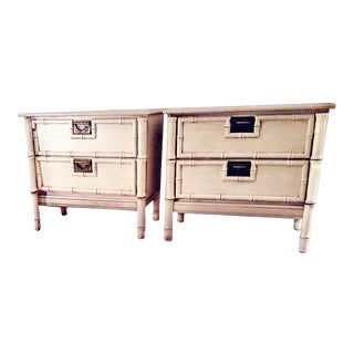 "1970s Stanley Furniture ""Bali Hai"" Campaign Faux Bamboo Nightstands - a Pair For Sale"