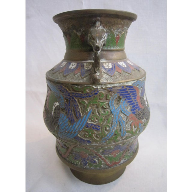 Asian Chinese Champleve Dragon Vase For Sale - Image 3 of 5