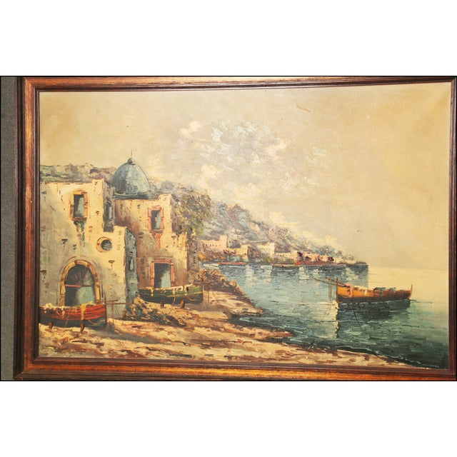 Vintage Impressionist Oil Painting of European Seascape - Image 3 of 11