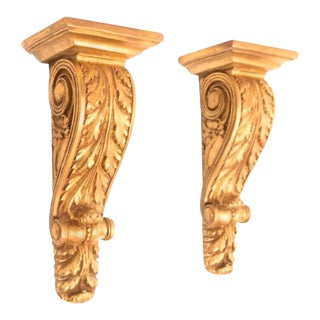 One Pair of Gilt Cast Wall Brackets Having a Rectangular Shelf For Sale