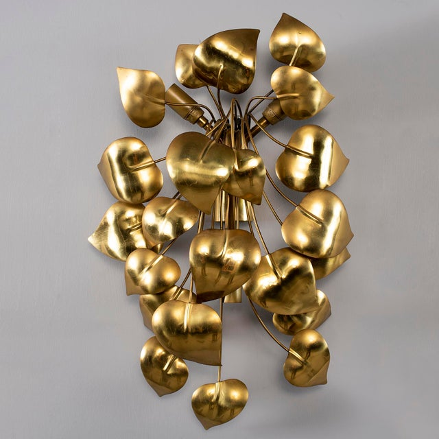 Hollywood Regency Cascading Leaves Gilt Metal Light Fixture Attributed to Maison Jansen For Sale - Image 3 of 13