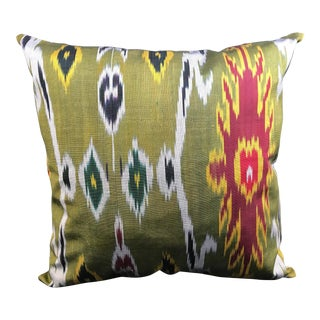 Green Ikat Tribal Inspired Pillow Cover For Sale