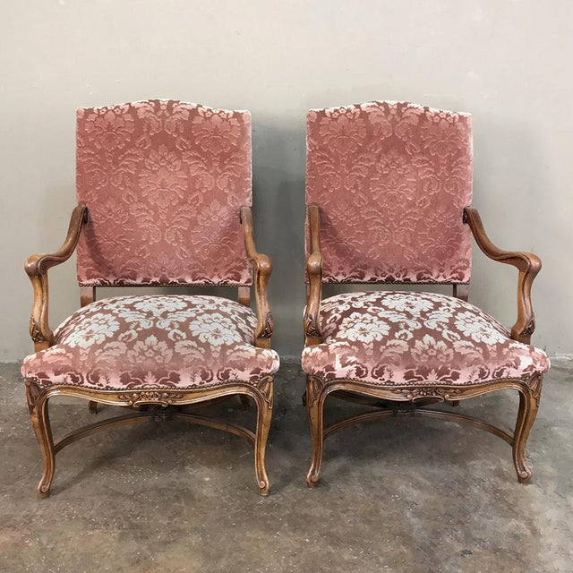 Pair Armchairs, 19th Century French Louis XV in Walnut For Sale - Image 4 of 13
