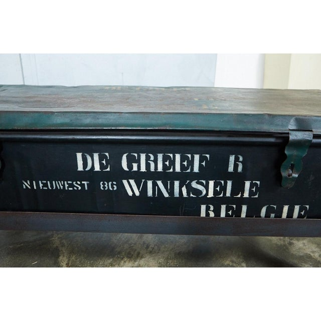Belgian Military trunk into Coffee Table For Sale - Image 4 of 7