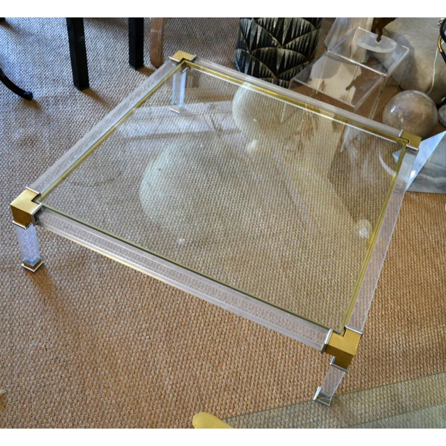 Early Charles Hollis Jones Hollywood Regency Acrylic Bronze & Chrome Glass Table For Sale - Image 11 of 13