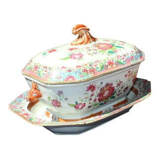 19th C. Chinese Export Tureen with Tray For Sale