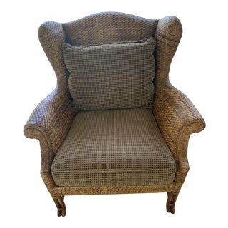 Baker Milling Road Rattan Wingback Chair For Sale
