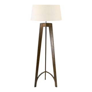 Polished Chrome With Walnut Floor Lamp and Shade For Sale