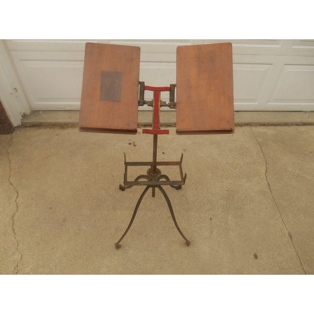 Antique Victorian Wrought Iron Book Stand - Image 2 of 7