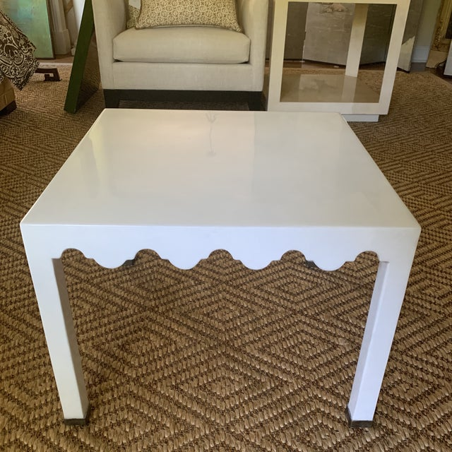 Contemporary White Lacquered Grass Cloth Moroccan Style Side Tables- a Pair For Sale - Image 3 of 12