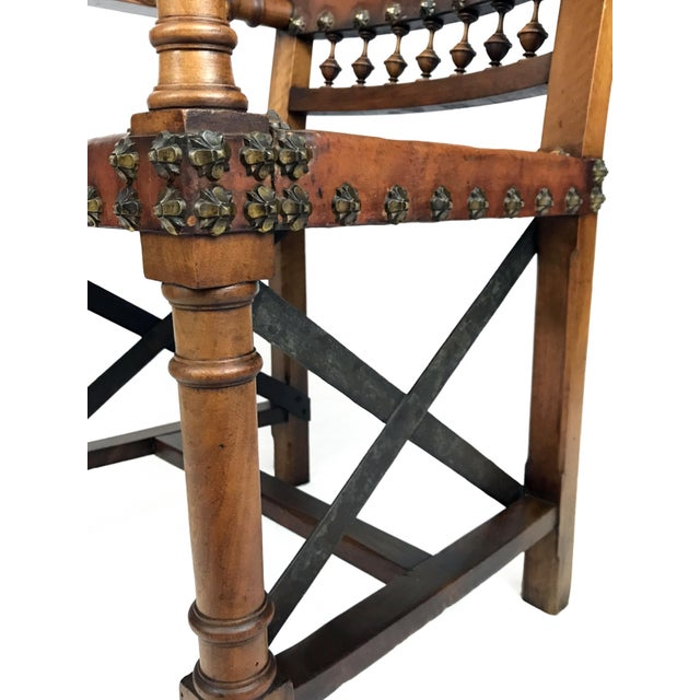 Metal 19th Century Renaissance Revival Leather Game of Thrones Style Armchair For Sale - Image 7 of 9