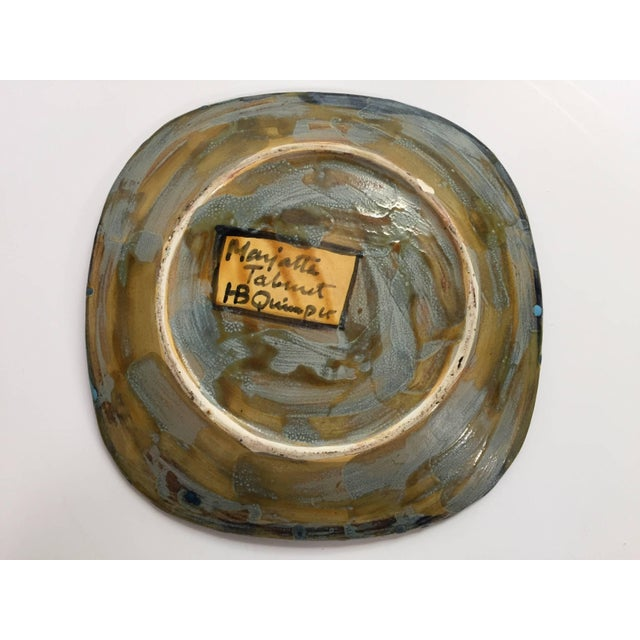 Ceramic Hand-Painted Charger by Master Potter Marjatta Taburet Quimper France Circa 1960 For Sale - Image 7 of 10