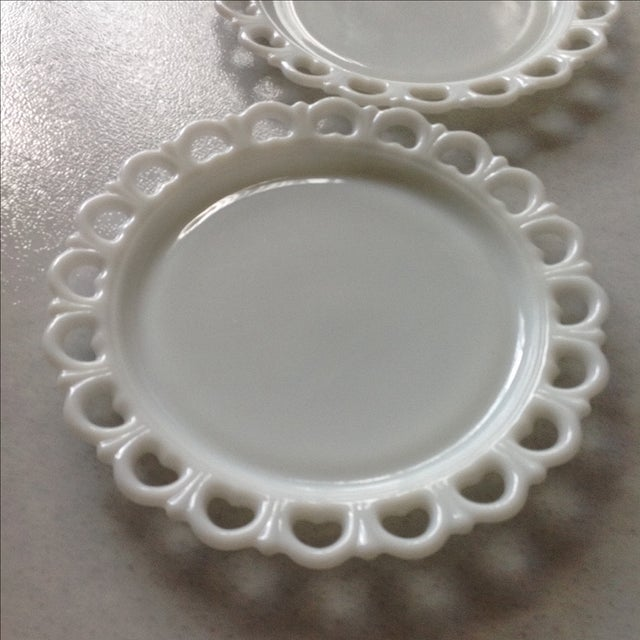 Lace Edge Milk Glass Cake Plates - Pair For Sale - Image 5 of 9