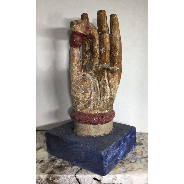 Asian Chinese Wood Buddha Hand Carving For Sale - Image 3 of 10
