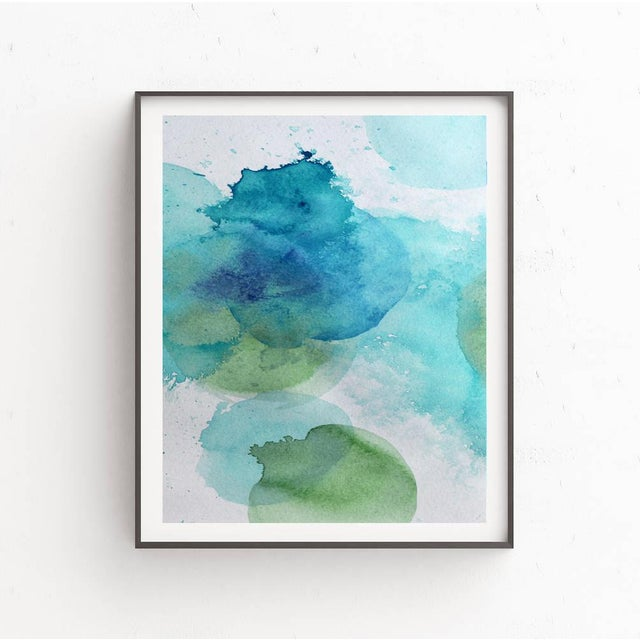 Fine art print from original watercolor art painting of layered blues, greens. Museum-quality on thick, durable, matte...
