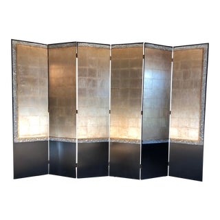 Monumental Black Lacquered and Gold Leaf Panel Room Screen by Century Furniture For Sale