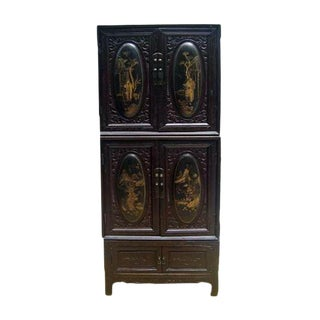 Chaozhou Painted & Carved Cabinets on Stand - Set of 3