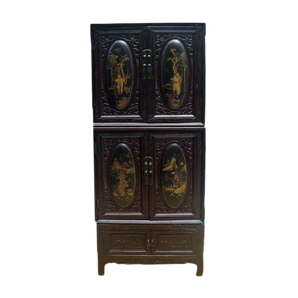 Chaozhou Painted & Carved Cabinets on Stand - Set of 3 For Sale