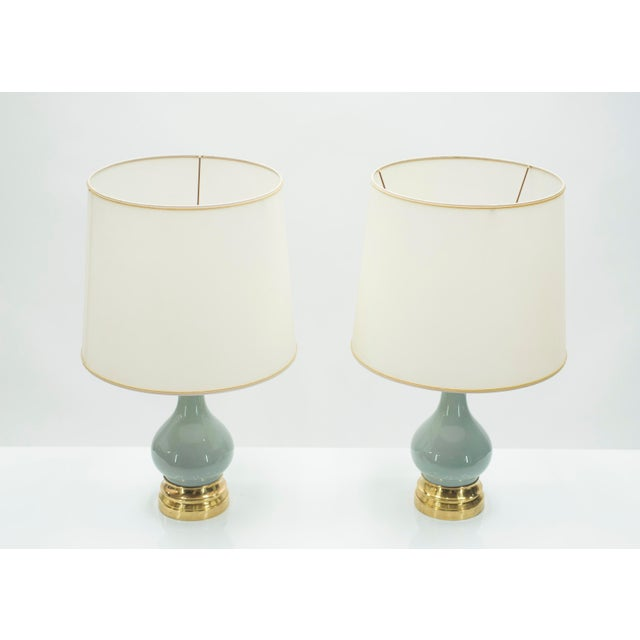 Metal Mid-Century Pair of French Light Blue Ceramic and Brass Lamps 1960s For Sale - Image 7 of 9