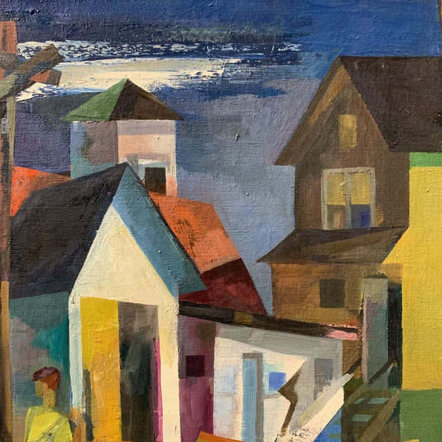 Mid-Century Cubist Style Scenery Oil Painting by Howard Mandel For Sale - Image 4 of 6