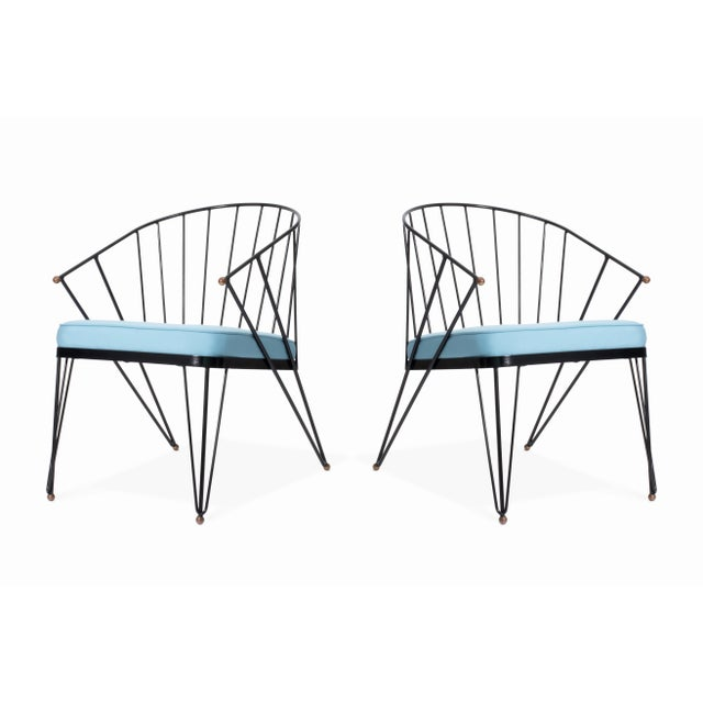 1950s Vintage Mid Century Wrought Iron and Brass Patio Chairs - a Pair For Sale - Image 5 of 5