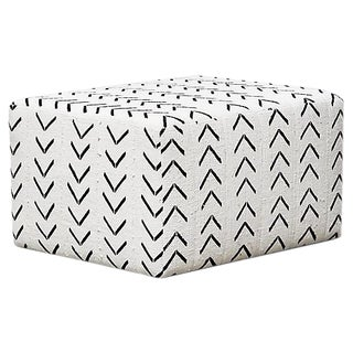 Fragments Identity Natural & Black Hand-Woven Ottoman For Sale