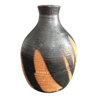 Mid-Century Ceramic & Black Glaze Vase For Sale