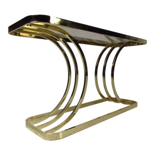 Contemporary Modern Brass Console Table For Sale