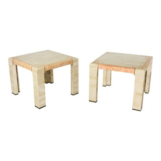 1970s Art Deco Maitland-Smith Tessellated Stone Square Side Tables – a Pair For Sale