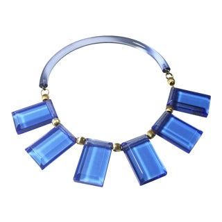Judith Hendler Blue Acrylic Lucite Neck Ring Necklace For Sale