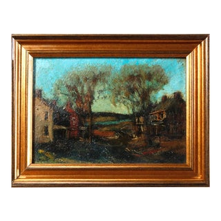 Antique Oil on Canvas Impressionist Painting by W E Baum, The Village circa 1930 For Sale