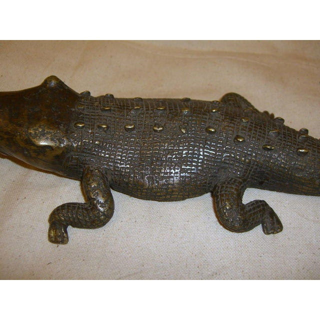 Primitive Late 20th Century African Bronze Crocodile Model For Sale - Image 3 of 9