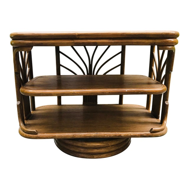 1980s Boho Chic Swivel Split Bamboo Rattan Console Table For Sale
