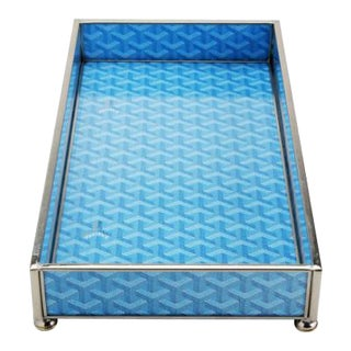 Goyard Inspired Blue & Nickel Tray