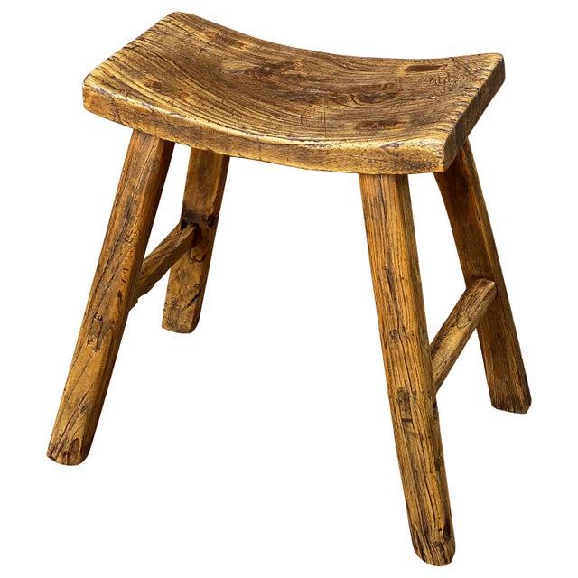 English Saddle Seat or Farm Stool of Elm For Sale - Image 13 of 13