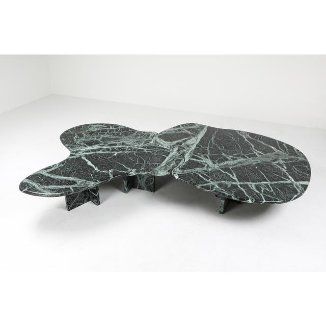 Postmodern Green Marble Coffee Table in the Manner of Noguchi For Sale - Image 4 of 12