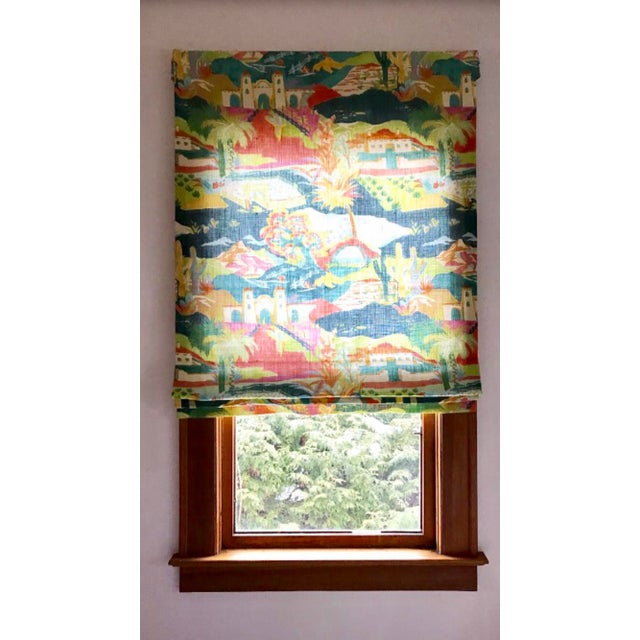 Multicolored Mexican Scene Pattern Roman Shade For Sale - Image 5 of 10