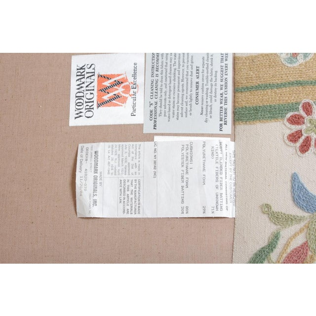 Vintage Woodmark Original Crewel Embroidered Wingback Chair For Sale In Columbus - Image 6 of 11