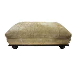 Ottoman - Green Suede on Wooden Base