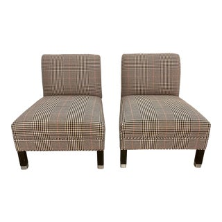 Crate & Barrel Custom Houndstooth Armless Lounge Slipper Accent Chairs - Pair For Sale