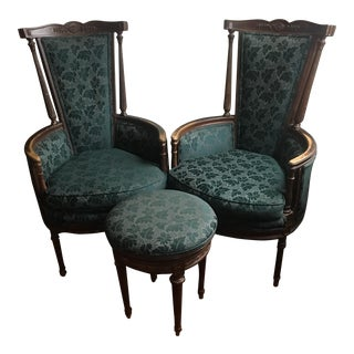 Bergere Chairs and Matching Footstool
