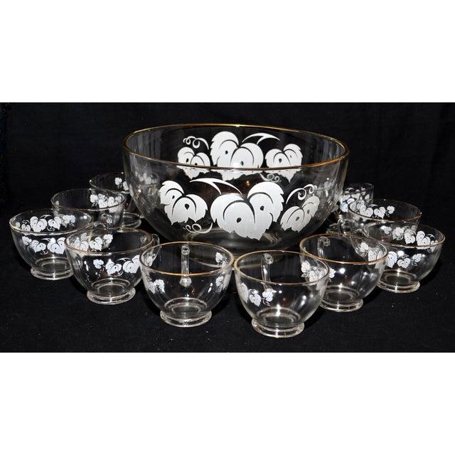 White Anchor Hocking Grape Leaf Punch Bowl Set - Set of 11 For Sale - Image 8 of 8