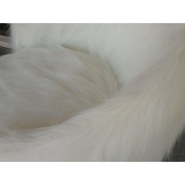 Animal Skin Pair of White Surreal Faux Fur Lounge Chairs For Sale - Image 7 of 8