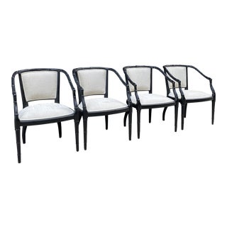 Mid Century Bamboo Carved Dining Chairs - Set of 4 For Sale