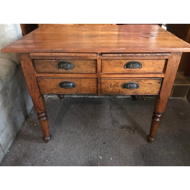 Antique oak feed table for sale. Appears to be all original and sturdy with solid construction. Bottom two drawers are...