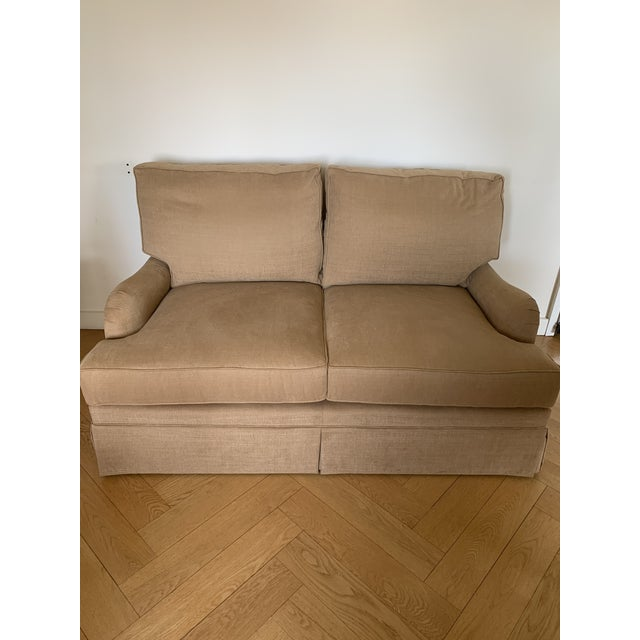 2020s Loveseat Custom With Bridge Water Arm, Turned Legs on Casters. For Sale - Image 5 of 5