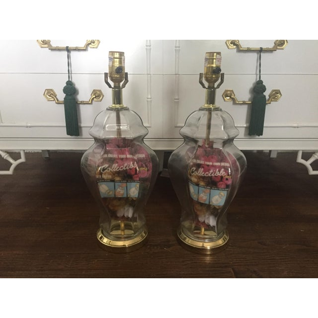 Set of 2 Vintage Glass Fillable Ginger Jar Lamps - Image 2 of 10
