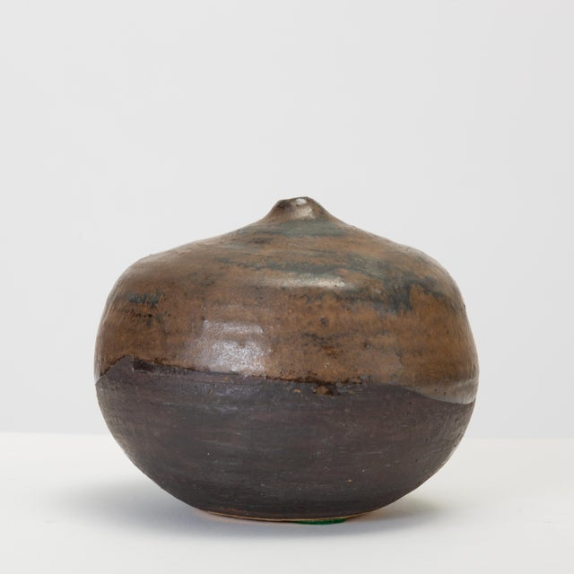 Brown and Black Glazed Studio Pottery Weed Pot by Sakamoto For Sale In Los Angeles - Image 6 of 11