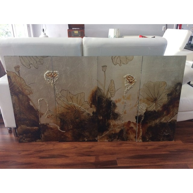 Vintage Asian Lacquer Four Panel Art - Image 2 of 7