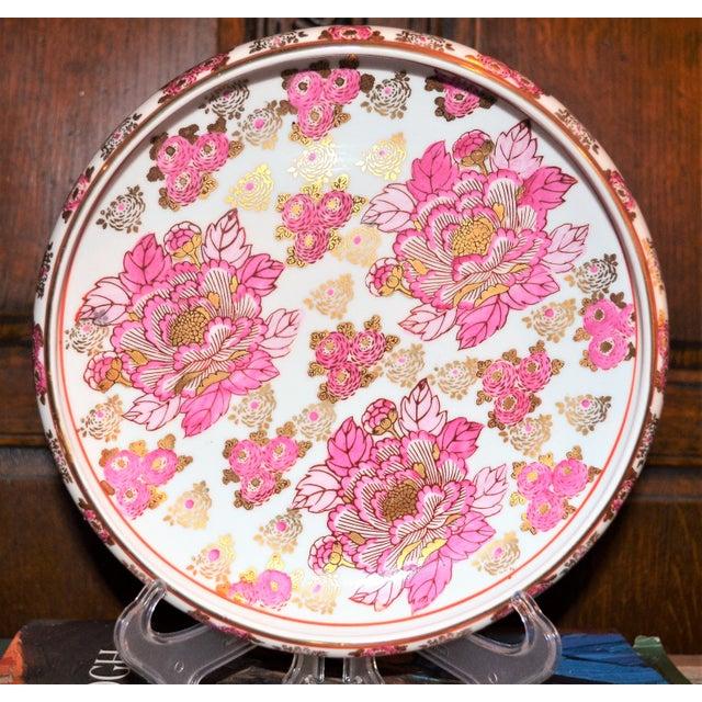 Asian Pink and Gold Imari Japanese Porcelain Platter For Sale - Image 3 of 8